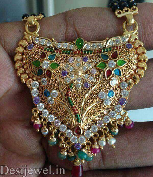 Marwadi Rajasthani fancy gold Mangalsutra And Weight is 14-16 gm