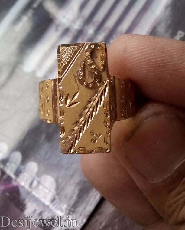 Rajasthani Gold Gents Ring Design  in Jodhpur with weight of 3 GM